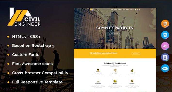 Civil Engineer - Construction Bootstrap Template for Architect